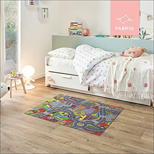 Fabriq Alfombra de juego para niños y niñas, antideslizante, para habitación infantil y de juegos, lavable a 30 °C, 95 x 133 cm, Smart City