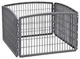 IRIS USA 24'' Exercise 4-Panel Pet Playpen without Door, Dark Gray