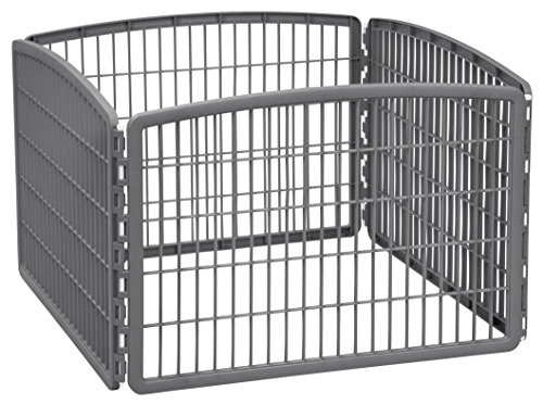 "IRIS 24"" Exercise 4-Panel Pet Playpen without Door, Dark Gray"