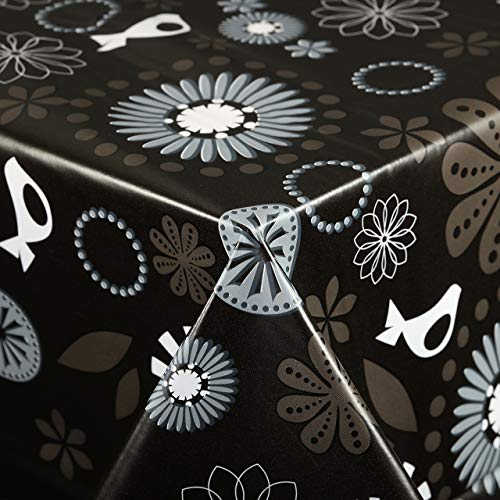 Vinylla - Mantel de PVC, fácil de limpiar, diseño floral, color negro, 140 x 140 cm