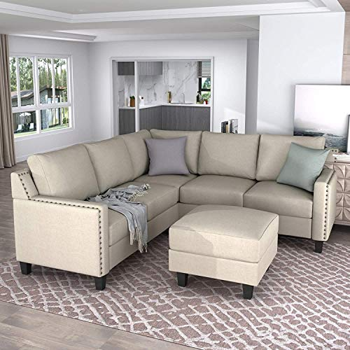 Merax Sectional Sofa with Chaise Lounge and Ottoman 3-Seat Sofas Couch Set for Living Room (Beige)