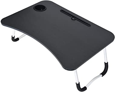 """Portable Folding Laptop Stand Bed Table, Lazy Snack Table with Tablet Stand Cup Holder, Small Desk Breakfast Tray, 27.6"""" x 19"""