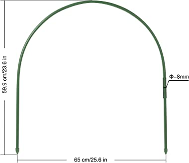 """F.O.T 6Pcs(25.6"""" x 23.6"""" )Greenhouse Hoops,PlantSupportGardenStakes, Rust-Free GrowTunnel 4.9ft LongSteelwith"""