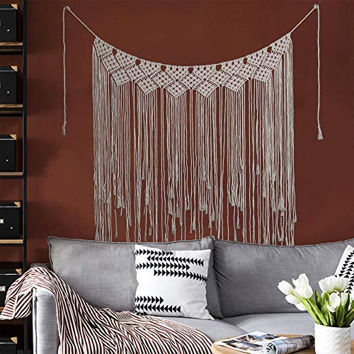 GLITZFAS Makramee Wandbehang Dekoration Baumwolle Handmade Woven Wandteppich Böhmische Wanddeko Wandteppich und Türvorhang