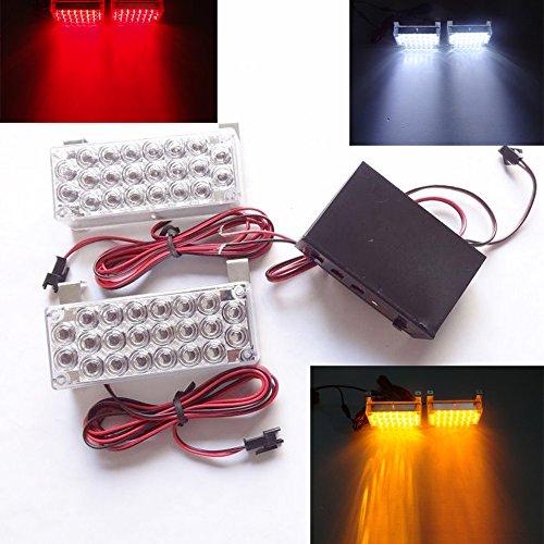 Viktion 5W 2 * 22 LEDs Feux de Pénétration Lumière Stroboscopique Eclairage Clignotant à 3 Modes pour Voiture Camion véhicule SUV DC 12V (Blanc)