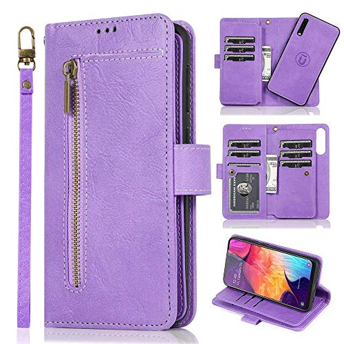 LCHULLE For Samsung Galaxy A20/A30 Wallet Case 2 In 1 [Magnetic Detachable] Folio Flip Leather Case 9 Card Slot Holder Kickstand Zipper Pocket Lanyard Hard PC Shockproof Case For Galaxy A20/A30-Purple