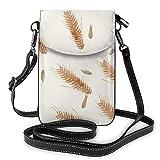 Goxegag Cartera multifuncional de piel para teléfono móvil, bolso de hombro pequeño, bolso de viaje con correa ajustable, para mujeres, cereales de trigo otoñal, planta botánico