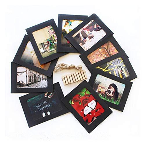 Marcos Para Cuadros 10 PCS Marco de papel combinado con clips DIY Picture Frame Photos Wall Fotos Álbum 2M Cuerda Decoración del hogar Artesanía Marcos Cuadros ( Color : Black , Size : 3 Inches )