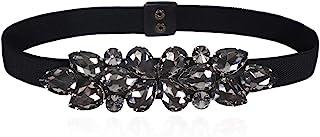 Dorchid Women's Floral Beaded Crystal Stone Belts Interloking Waistband