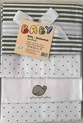 Baby Moltontuch Mullwindel Mullwücher 76x76 cm 100% Baumwolle I 4 x Baumwolle Mulltücher Ökotex Standard I Baumwollwindeln Stoffwindeln Set I (Grau)