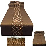 """72"""" Brown and Tan Table Runner Sheer Sparkling Reversible Battery Operated with 20 Ultra Thin LED Lights and Timer"""