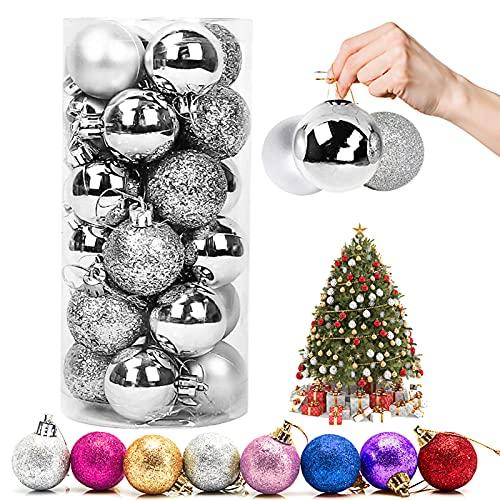 Palla di Natale Ornamenti, 24 Pezzi palline decorative di Natale palline colorate di Natale Plastica Addobbi Natalizi per Alberi Pendenti per Ornamenti Decorazioni per Feste (d'argento)
