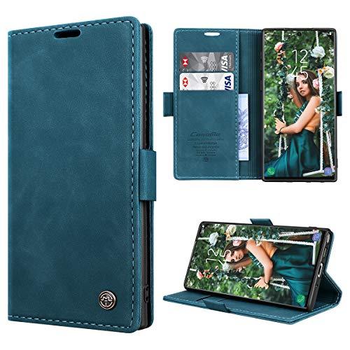 RuiPower Kompatibel für Samsung Galaxy Note 10 Hülle Premium Leder PU Handyhülle Flip Case Wallet Lederhülle Klapphülle Klappbar Silikon Bumper Schutzhülle für Samsung Note 10 Tasche - Blaugrün