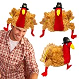 3 PACK PILGRIM TURKEY HAT SET: Each pilgrim turkey hat is of sturdy construction with plump legs and wings, roomy interior, and comes down over ears for stability; This stuffed turkey decoration headwear is made of 100% plush polyester material and f...