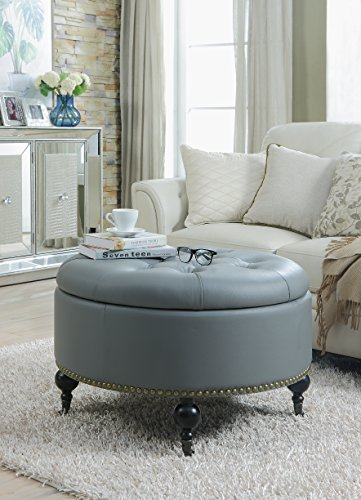 Iconic Home Grey Mona PU Button Tufted with Gold Nail head Trim Castered Legs Round Ottoman