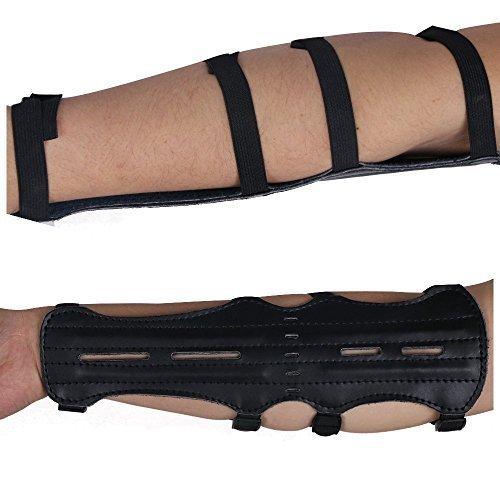 Toparchery Armschutz Armschoner aus Leder Bogensport Zubehör für Bogenschießen Schwarzer