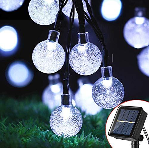 Guirnalda Luces Exterior Solares, 7M 50LED Cadena de Bola Cristal Luz, 8 Modos IP65 Impermeable Interior y Exterior Guirnalda Luminosas Solar para Jardín, Navidad, Terraza, Fiestas (Blanco Frio)