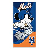 Officially Licensed MLB New York Mets and Disney's Co-Branded Mickey Mouse 'Windup' Beach Towel, 28' x 58', Multi Color