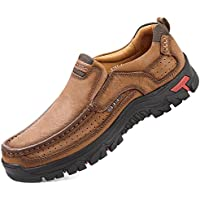 Alitikavic Mens Slip On Casual Leather Comfortable Walking Loafers (Brown)