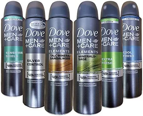 Dove Men Care Dry Spray Antiperspirant Deodorant 150 ML Pack of 6 Mixed Scents product image