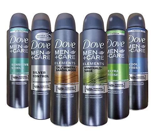 Dove Men+Care Dry Spray Antiperspirant Deodorant 150 ML Pack of 6 Mixed Scents