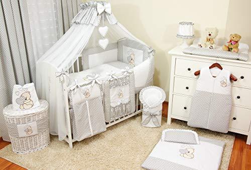 Literie de bébé ensemble set XL complet 11 pièces linge parure de lit 100% coton avec broderie +...