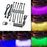 Kit de iluminación LED para debajo del suelo de coche, 6 tiras de 18 colores RGB, con mando a distancia