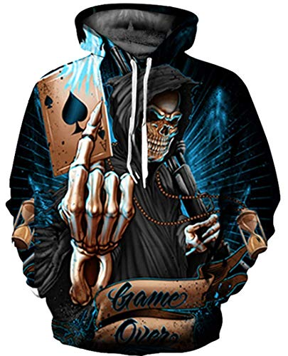 JOOCAR Unisex Pullover Hoodies Cool Skull Grim Reaper Poker Realistic 3D Digital Print Hooded Sweatshirt Fashion Punk Streetwear