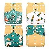 ALEOHALTER 4 unids/set pañales lavables del paño del bebé, niño impreso ningún paño del inserto respirable suave del pañal del tamaño de un bolsillo