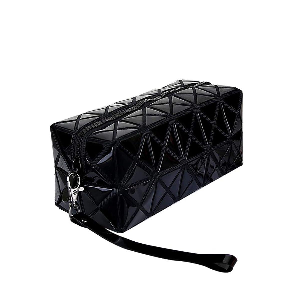 おびえたトイレ分析的なホログラフィック幾何学的なダイヤモンドの市松模様の化粧品のバッグは、財布ridescent電話光沢のハンドバッグの女性の女の子クラッチ(ブラック)