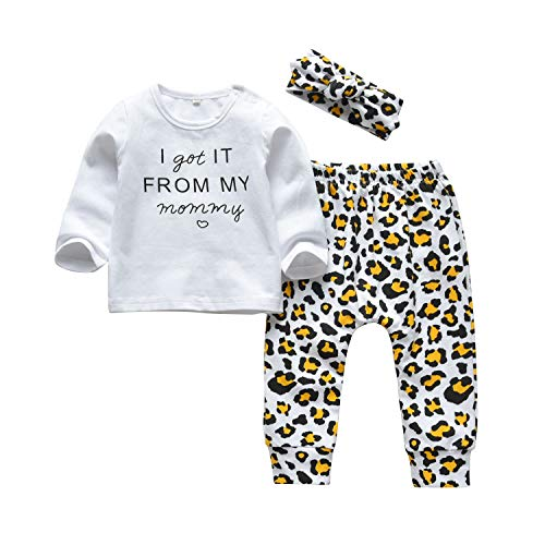 3Pcs Baby Girl Outfits Set I Got It from My Mommy Long Sleeve T-Shirt Tops Printed Pants with Headband (6-9 Months)