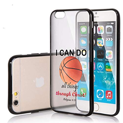 SunCases Soft TPU Bumper Case for iPhone 7 / iPhone 8 - Basketball I Can do All Things Through Hard Clear Transparent Anti Scratch Resistance with Full Protection Cover