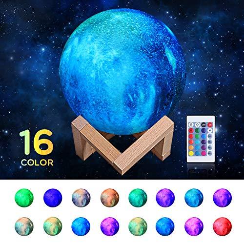 LMCXWD 16 Kleuren 3D Print Ster Maan Lamp Kleurrijke Verandering Touch Home Decor Creatieve Gift Usb Led Nachtlampje Galaxy Lamp