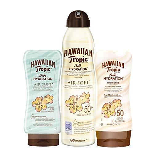 Hawaiian Tropic - Silk Hydration Pack - Crema solare SPF 50 Lozione + Idratazione della seta Air Soft SPF 50 180 ml Spray solare + Idratazione doposole Air Soft 200ml - Confezione da 3 unità