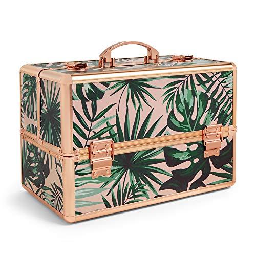 Beautify Kosmetikbox Kosmetikkoffer Schminkkoffer Große Aufbewahrungs-Box & Rose Gold Rahmen - Rosa Tropische Aufdruck