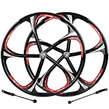 <span class='highlight'><span class='highlight'>CHUDAN</span></span> 26 Inch Bicycle Rims Magnesium Alloy Road Bike Wheelset 5 Spokes V-Brakes Solid Axle Impeller WTB Hub Disc Quick Release Wheels 7/8/9/10 Speed, Black