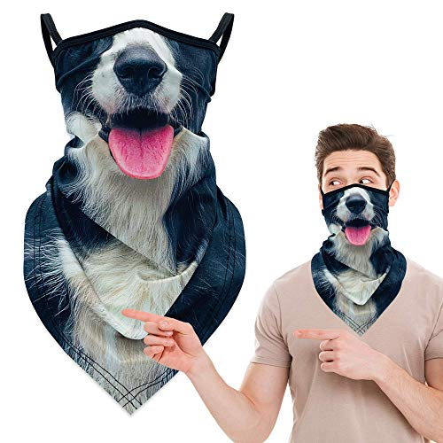 Neck Gators Face Mask with Ear Loops, 3D Animal Neck Gaiter Bandana Face Mask Washable Earloop Design, Face Coverings Headband Balaclava Ski Mask Scarf Shield for Men Women, Border Collie Dog Mask