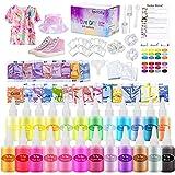 ASCOZY Tie Dye Kit, Juego de pinturas Textiles para Tela, 24 Colores Vibrantes Kits de Tinte para Pricolaje para Teñir Telas, Arte Creativo y Actividades Artesanales Tie Dye Set para Niños y Adultos