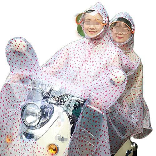 Tragbar und leicht Auto Motorrad Batterie Elektroauto transparent Zwei Personen Poncho Reise-Accessoires (Color : Red, Size : XXXXL)