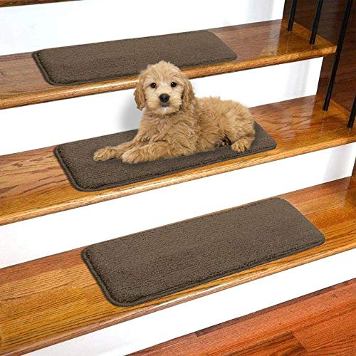 Ottomanson Softy SST Stair Treads, 7-Pack, Brown
