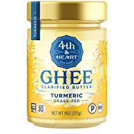 Turmeric Grass-Fed Ghee Butter by 4th & Heart, 9 Ounce, Keto, Pasture Raised, Non-GMO, Lactose Free, Certified Paleo