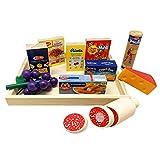 Holztablett mit Holzlebensmittel und Lebensmittelpackungen - Kaufladen Kaufmannsladen Spielzeug Lebensmittel Kinderküche Spielküche Einkaufsladen Zubehör Set - Obst Käse Wurst für Kinder ab 3 Jahren