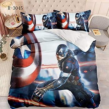 Superhero Captain America Bedding Qulit Bed Set,Twin Full Queen King Avengers Bedding Set Duvet Cover Sets for Kids Teens Girls Boys