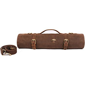 Large Chef's Knife Roll Bag, Heavy Duty Waxed Canvas Knife Carrier, 11 Pockets Kitchen Cooking Tools Storage Case, Easily Carried By Shoulder Strap ForProfessional Chefs, Culinary School Students