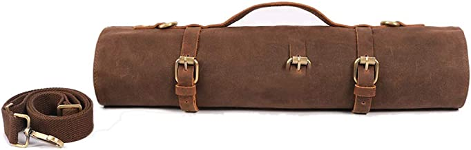 Large Chef's Knife Roll Bag, Heavy Duty Waxed Canvas Knife Carrier, 11 Pockets Kitchen Cooking Tools Storage Case, Easily ...