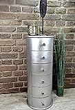 Livitat Kommode rund Silber Shiny foliert Schubladen Höhe 76 cm Pomp barock antik pompös Landhaus LV2025