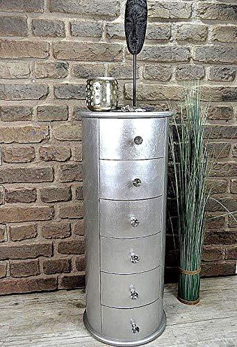Livitat® Kommode rund Silber Shiny foliert Schubladen Höhe 76 cm Pomp barock antik pompös Landhaus LV2025