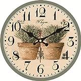 XYQY Reloj de Pared Vintage Diseño Floral Gran Reloj silencioso para Sala de Estar Shabby Chic Kitchen Saat Decoración para el hogar Diámetro 16 Pulgadas 23983