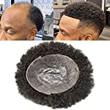 N·Y·P Afro Curly Toupee for Black Men 8X10 Full Poly African American Human Hair Systems Injected PU Hairpiece Replacement Durable Skin Kinky Curly Mens Wigs (Afro Wavy 6mm, 1# Jet Black)