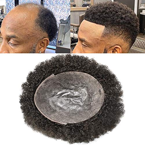 CURVE HAIR Afro Toupee For Black Men Brazilian Remy Human Hair Full Poly African American Human Hair Systems All Fine PU Man Weave Balding Mens Custom Hair Unit 8X10inch Male Hair Replacement with weaves (8'X10', #1 Jet Black-6mm Wave Curl)